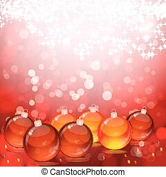 Christmas balls on abstract light background.