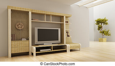 lounge room interior with bookshelf and TV - 3d interior...