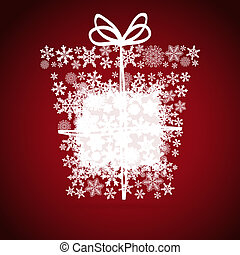 Christmas box, snowflake design background.