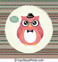 Hipster Owl in Textured Frame design illustration - Vector...