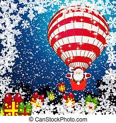 Christmas background white Santa Claus.