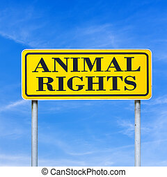Animal rights written on yellow road sign over blue sky