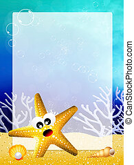 starfish with frame - illustration of starfish with frame