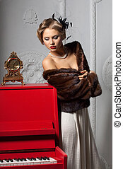 woman in evening dress - Photo of young beautiful brunette...