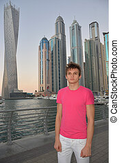 The guy in front of the skyscrapers