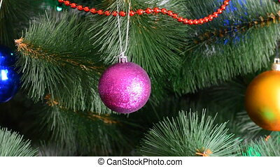 Green Christmas Tree with Gifts and Bulbes, Dolly Shot