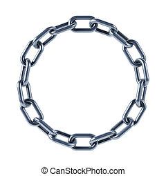 Corrente, ligações, unidas, anel