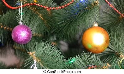 Green Christmas Tree with Gifts and Bulbes, Rack Focus and Dolly In Out