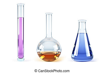chemical flasks with reagents - isolated 3d rendering of the...