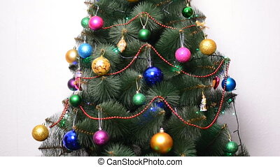 Green Christmas Tree with Gifts and Bulbes, Rack Focus and...