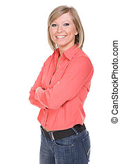 casual woman - happy blond woman over white background