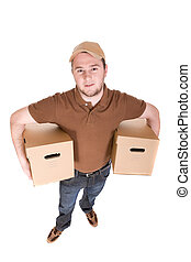 delivery man with a package on white background