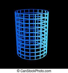 faceted blue 3d cylinder