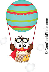 Owl in a Hot Air Balloon - Scalable vectorial image...