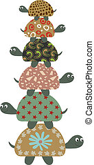 Cute Safari Turtles - Scalable vectorial image representing...