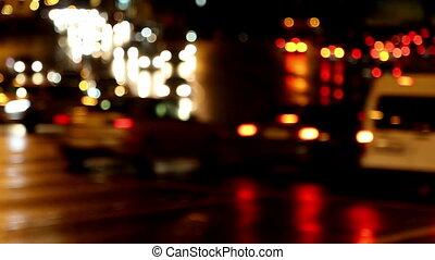 defocused evening car traffic at rush hour