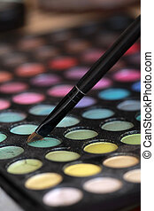 eyeshadows - Multi colored make-up palette and brush