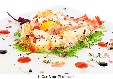 Lobster salad in japanese style with chuka seaweed and...