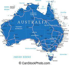 Australia road map - Highly detailed vector map of Australia...