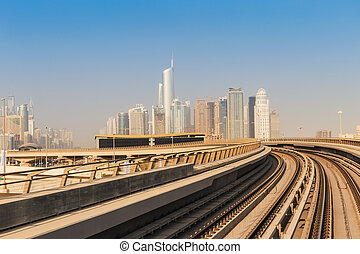 Metro subway tracks in the United Arab Emirates - DUBAI, UAE...