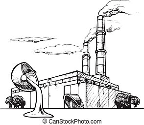 plant - Vector drawing of casting plant stylized as...