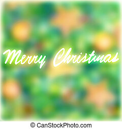 Merry Christmas greeting card, soft focus of pine tree...