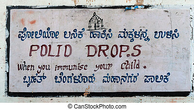 Sign to immunize your child against polio. - Street sign in...