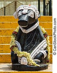 Nandi statue at Lal Bagh Botanical Garden in Bengaluru -...