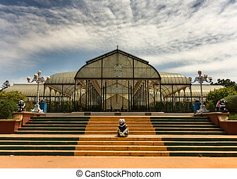 Glass house at Lal Bagh Botanical Garden in Bengaluru. -...