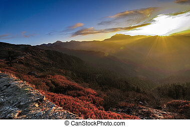 Sunrise at Sikkim - Sunrise at Lungthang view point, Sikkim