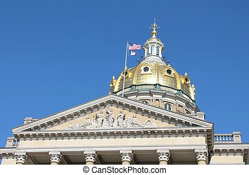 Iowa State Capitol Building - Front view of the...