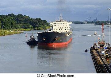 Oil Tanker Approaching Gatun Lock - Oil tanker approaching...