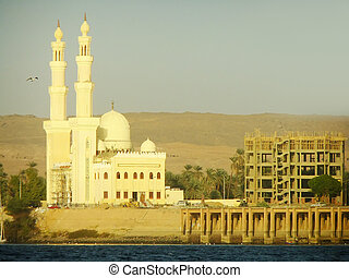Mosque on the Nile river bank, Egypt