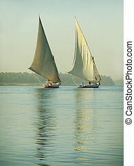 Felucca boats sailing on the Nile river, Egypt