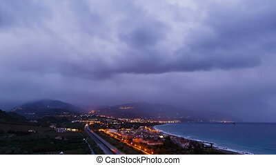Dawn over the coast of Sicily. Italy. Time Lapse