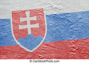 Slovak flag on the ice - Preview Slovak flag on a hockey...