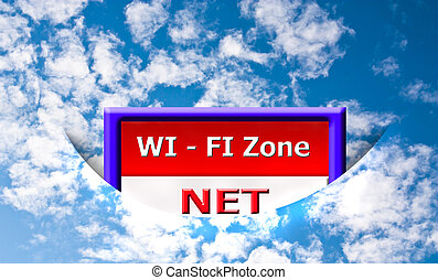 wi-fi zone isolated on sky background