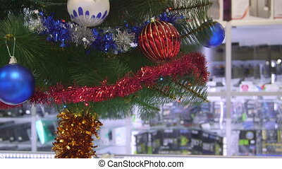 Christmas tree in electronics store - Christmas tree on...