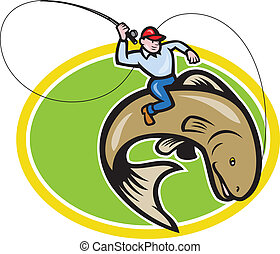 Fly Fisherman Riding Trout Fish Cartoon - Illustration of a...