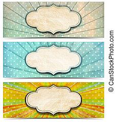 Three Vintage Banners - Set of three vintage banners with...