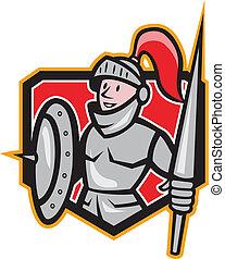 Knight Shield Lance Crest Cartoon - Illustration of knight...