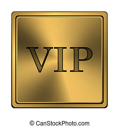 VIP icon - Square metallic icon with carved design on copper...