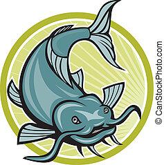 Catfish Attacking Circle Cartoon - Illustration of a catfish...