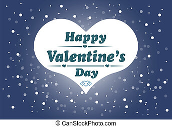 Happy Valentines day card with heart. Vector