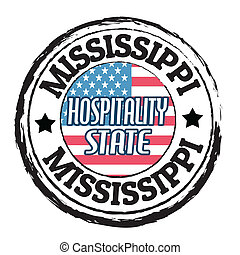 Mississippi, Hospitality State stamp - Grunge rubber stamp...