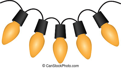 Christmas light bulbs on white. Vector