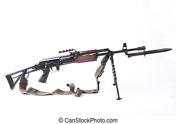 Machinegun with Bayonet - old machinegun with tripod and...