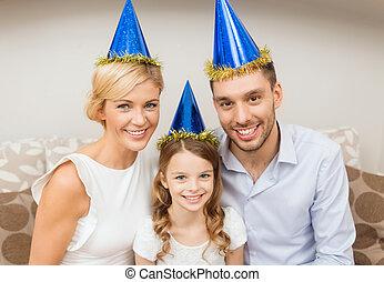 happy family at home - celebration, family, holidays and...