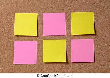 six reminder sticky notes on cork board, empty space for...