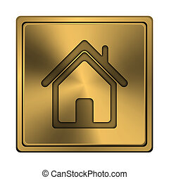 Home icon - Square metallic icon with carved design on...